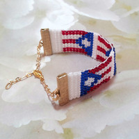 Loom Beaded Bracelet, Puerto Rican Flag, Puerto Rico, Boricua, Women and Teen's bracelet, Fashion Bracelet, Beaded Jewelry, Designer Jewelry