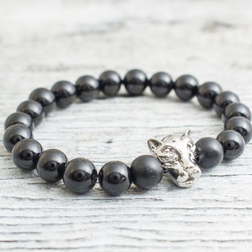 Black onyx beaded silver Leopard head stretchy bracelet, made to order yoga bracelet, mens bracelet, womens bracelet