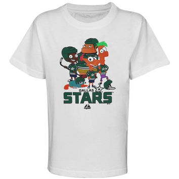 Majestic Dallas Stars Preschool Phineas & Ferb and The Gang T-Shirt - White - http://www.shareasale.com/m-pr.cfm?merchantID=7124&userID=1042934&productID=540295555