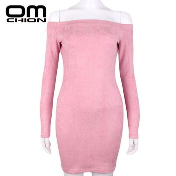 OMCHION New 2018 Dress Women Long Sleeve Off Shoulder Slash Neck Bodycon Suede Dress Female Club Party Mini Dresses LDR8