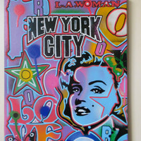 pop art painting on canvas,stencils,posca &spraypaints l.a woman,marilyn,stars,hearts,gift ideas,america,urban,targets,warhol,love,icons,art