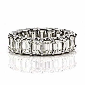 8.01tcw Emerald-Cut Floating Diamond 14K White Gold Eternity Band