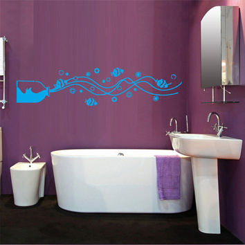 Wall Vinyl Sticker Decals Decor Art Bathroom Design Mural Bottle Water Fish (z522)