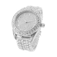 Iced Out Rapper Celeb Wear Joe Rodeo White Gold Finish Watch