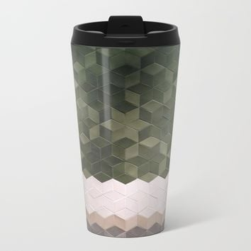 Geometric Pattern Metal Travel Mug by Salome