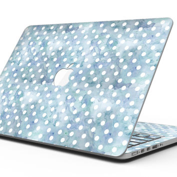 White Polka Dots over Pale Blue Watercolor - MacBook Pro with Retina Display Full-Coverage Skin Kit