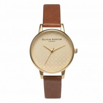 Modern Vintage Dot Design Tan and Gold – Vintage inspired fashion watches by Olivia Burton