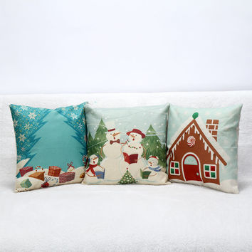 3D Decorative Snowman Cotton Pillow Covers Luxury Home Seat Chair Bed Throw Pillow Case