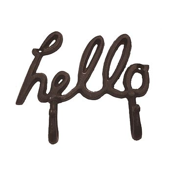 Hello - Heavy Cast Iron Wall Hook - 6-1/2-in