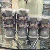 UGG Hot style wool queen diamond bow ultra female beauty with thick warm ugg boots two style Grey