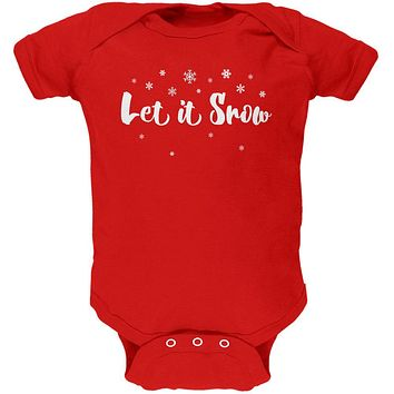 Christmas Let it Snow Script Snowflakes Soft Baby One Piece