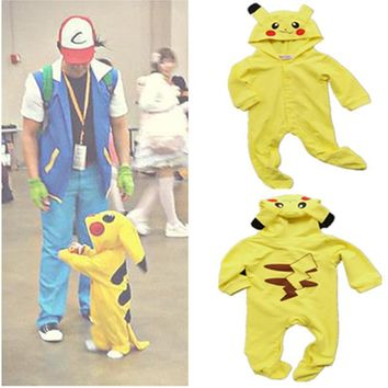 Baby Pokemon Pikachu Romper Onesuit Cute Costume Infant Outfit Hooded Clothing