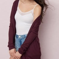 Slouchy Cardigan With Lace-Up Sides