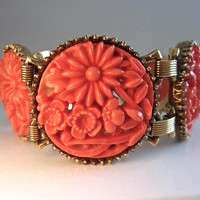 Molded Floral Glass Coral Bracelet, Book Chain & Round Panels, Flowers, Vintage