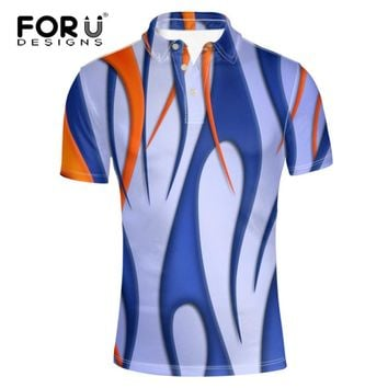 FORUDESIGNS  Polo Shirt  for Mens Pique Fabirc  Breathable Summer  Tee Geometric 3D Pattern Modern Classic Male Shirts