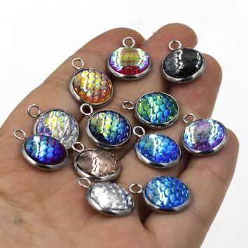 MRHUANG 10pcs/pack Stainless steel Mix Colour Mermaid Fish Scale Charms Pendant fit bracelet Necklace DIY Jewelry Accessory