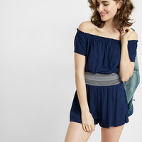Off The Shoulder Smocked Romper