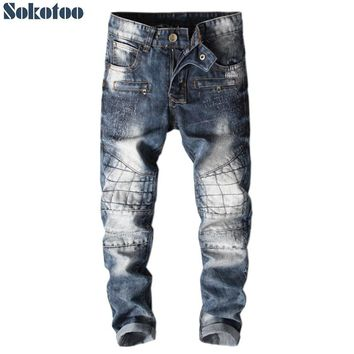 Sokotoo Men's water washed slim fit straight biker jeans for moto Vintage tie and dye patchwork denim pants