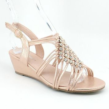 Women's Rosegold Shimmery Wedge Sandals with Clear Rhinestones