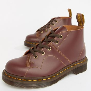 Dr Martens Church Oxblood Leather Flat Ankle Boots at asos.com