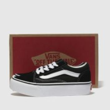 Kids Unisex black & white vans old skool platform Junior | schuh