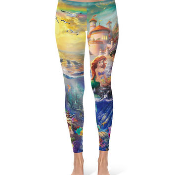 Little Mermaid Disney Fine Art Painting Ariel - Leggings in XS-3XL -  Sports or Fleece Fabric Leggins - Yoga, Gym, Thick Winter 000670
