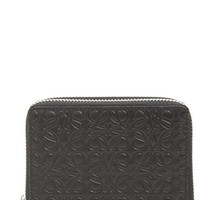 Women's Loewe Embossed Leather Zip-Around Wallet - Black