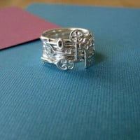 Five Tiny Key Stacking Rings Sterling Silver