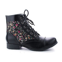 Gonia Round Toe Lace Up Combat Ankle Boots