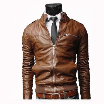 men leather jackett Motorcycle Leather Jackets Men Solid Business Casual Coats Autumn Winter Leather Clothing Bomber PU Jacket