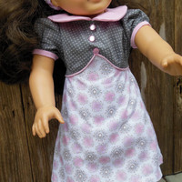 1930's pink & gray A-line dress (18 inch) pattern by Maggie and Joan for AMERICAN GIRL