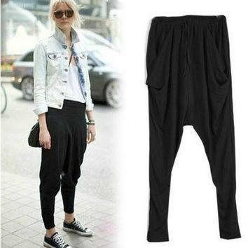NIFULLAN New Women Elastic High Waist Harem Pants Pleated Sweatpants Hot Dance Trousers Black Loose Plus Size Hip Hop Pants
