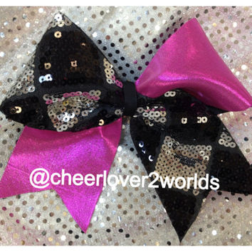 Pink with Sequin Diamond shape Shiny Cheer/Cheerleading Dance Bow Ribbon