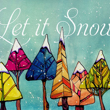 let it snow- painting of trees - holiday tree - christmas tree painting - holiday decorations - holiday painting - christmas painting -