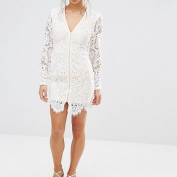 Missguided Petite Zip Front Plunge Lace Mini Dress at asos.com