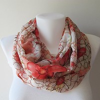 Floral Infinity Scarf, Coral White Chiffon Infinity Scarf, Women Loop Scarf, Circle Scarf, Fall Winter Spring Summer Fashion, Gift for Her