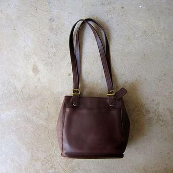 90s Leather COACH purse Rich Dark Brown Coach Shoulder Bag Double Strap Bag Vintage Me