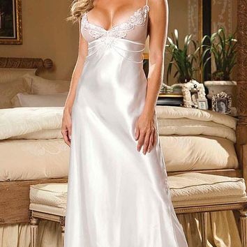 Nightgown - Bridal Charmeuse & Net w/Applique & Pearl Trim (Large)