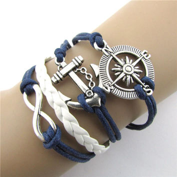 Essential 2016 New Fashion Hot Infinity Love Anchor Compass Leather Charm Bracelet Plated Silver Free Shipping Apr13