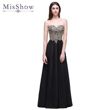 In stock 2017 New Long Black A Line Evening Dress Gold Lace Light Chiffon Sheer Neck Elegant Evening Gown Robe De Soiree Longue