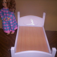 Handcrafted American Girl doll size bed purple ballerina doll furniture