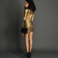 Sale-gold Flirter Lace Bodycon Dress