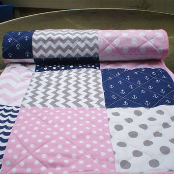 Nautical Baby quilt,Modern baby quilt,blanket,baby girl bedding,patchwork Crib quilt,navy,pink,grey,anchors,chevron,toddler,crib,Gal Nautic