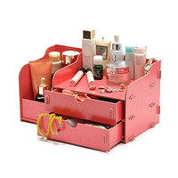 Indoorcy® Woody Cosmetic Make up Organizer / Storage Desktop Portable DIY Double Drawer Jewelry Box Gift 208 (Hot Pink)
