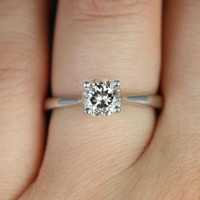 Flora 6mm 14kt White Gold Round Morganite Tulip Cathedral Solitaire Engagement Ring (Other metals and stone options available)