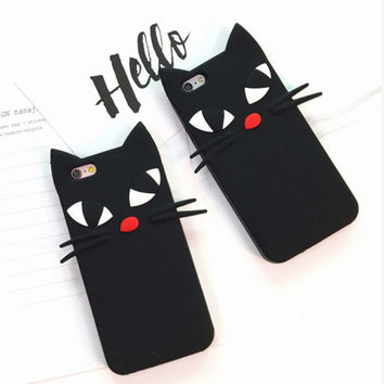 "Hot Sale 3D Cute Beard Black Cat Silicon Soft Case For iPhone 6 6S 4.7"" 6Plus 6S Plus 5.5"" 5 5S SE Back Cover Phone Cases YC1924"