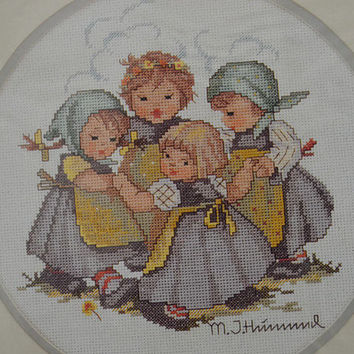 Free Us Shipping, Vintage Cross Stitch Kit, Needle Treasures, M. I. Hummel, Ring Around The Rosie, 8x10, Needlework Pattern Tutorial Girls