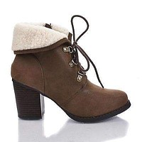 Creason By Soda, Round Toe Lace Up Faux Lamb Fur Ankle Cuff Block Heel Booties