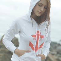 Live Life Anchored Raw Edge Hoodie White/Coral