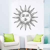 Wall Decal Vinyl Sticker Decals Art Home Decor Murals Sun Moon Crescent Dual Ethnic Stars Night Symbol Sunshine Tribal Flame Fire Bathroom Bedroom Dorm Decals AN85